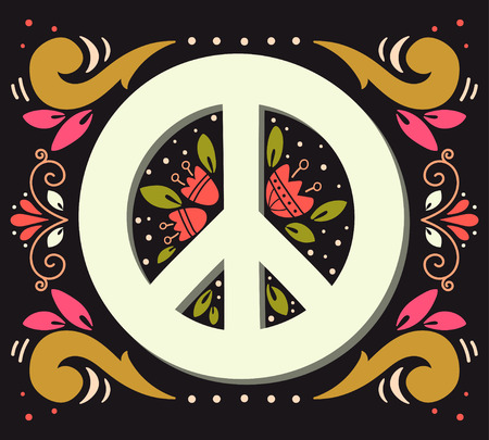 pacificist: Peace sign with flowers and decoration elements. Anti-war symbol. This illustration can be used as a print on t-shirts and bags or as a poster.