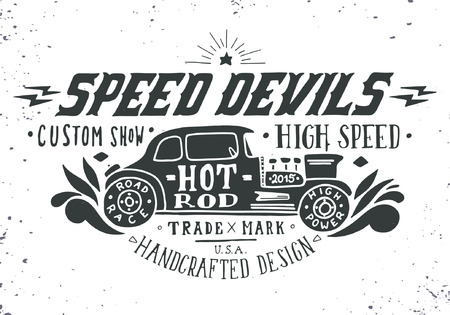 old timer: Speed devils. Hand drawn grunge vintage illustration with hand lettering and a old timer car. This illustration can be used as a print on t-shirts and bags, stationary or as a poster.