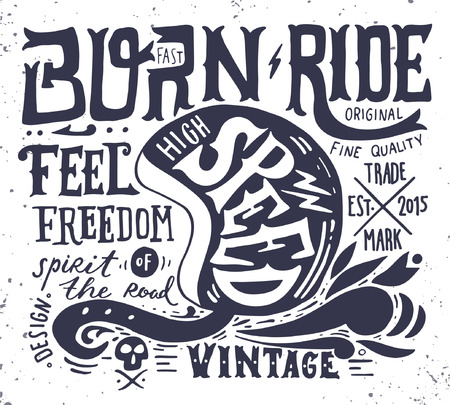 motor: Hand drawn grunge vintage illustration with hand lettering and a retro helmet, skull and decoration elements. This illustration can be used as a print on t-shirts and bags, stationary or as a poster.