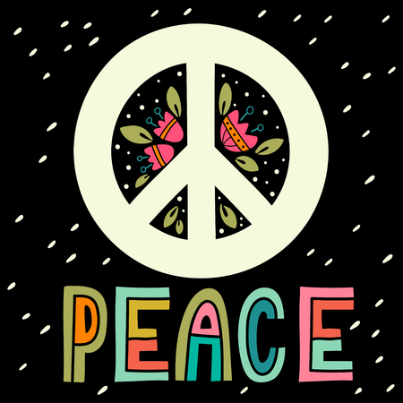 social movement: Peace sign with hand lettering, flowers and decoration elements. Anti-war symbol. This illustration can be used as a print on t-shirts and bags or as a poster.