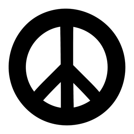 hope sign: Peace sign. Anti-war symbol isolated on white background. Illustration