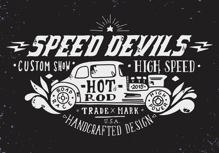 car show: Speed devils. Hand drawn grunge vintage illustration with hand lettering and a old timer car. This illustration can be used as a print on t-shirts and bags, stationary or as a poster.