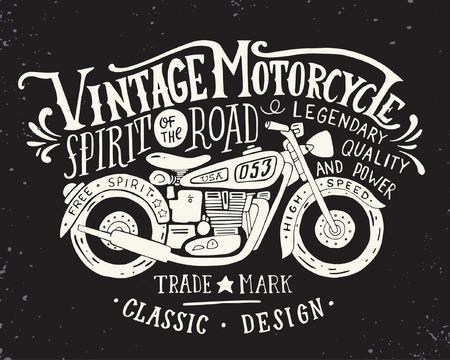 hombre: Motocicleta de la vendimia. Dé la ilustración de la vendimia del grunge dibujado con letras de la mano y una bicicleta retro. Esta ilustración se puede utilizar como una impresión en camisetas y bolsas, fijos o como un cartel. Vectores