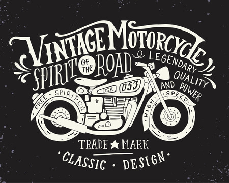 biker man: Vintage motorcycle. Hand drawn grunge vintage illustration with hand lettering and a retro bike. This illustration can be used as a print on t-shirts and bags, stationary or as a poster.