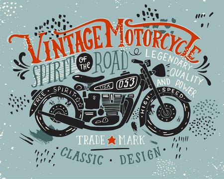 Oldtimer Motorrad. Hand gezeichnet Grunge Vintage Illustration mit Hand Schriftzug und einem Retro-Bike. Diese Abbildung kann als Druck auf T-Shirts und Taschen, stationär oder als Poster verwendet werden. Standard-Bild - 54669958