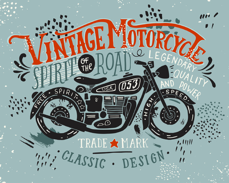 Vintage motorcycle. Hand drawn grunge vintage illustration with hand lettering and a retro bike. This illustration can be used as a print on t-shirts and bags, stationary or as a poster. 版權商用圖片 - 54669958