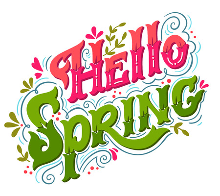 stationary: Hello spring. Hand drawn vintage lettering with floral decoration elements. This illustration can be used as a print on t-shirts and bags, stationary or as a poster.