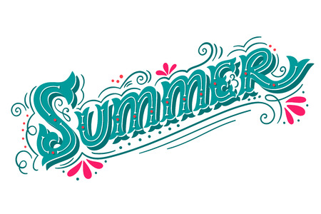 summertime: Summer. Hand drawn vintage lettering with floral decoration elements. This illustration can be used as a print on t-shirts and bags, stationary or as a poster.