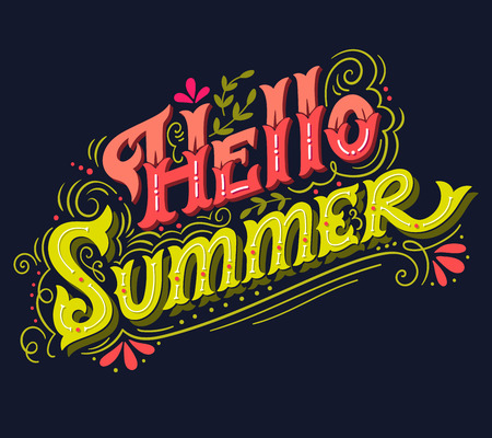 this: Hello summer. Hand drawn vintage lettering with floral decoration elements. This illustration can be used as a print on t-shirts and bags, stationary or as a poster.