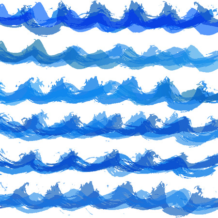 Hand drawn watercolor wave vector pattern 向量圖像