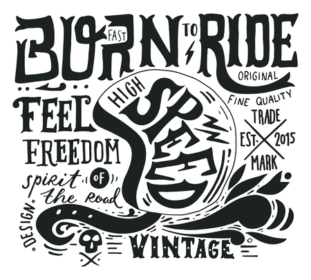 Hand drawn grunge vintage illustration with hand lettering and a retro helmet, skull and decoration elements. This illustration can be used as a print on t-shirts and bags, stationary or as a poster.