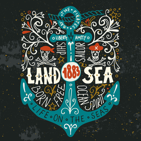 Land and sea. Hand drawn nautical vintage label with an anchor, pirate skulls, lettering and floral decoration elements. Ilustração