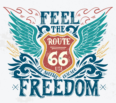 car clothes: Feel the freedom. Route 66. Hand drawn grunge vintage illustration with hand lettering. This illustration can be used as a print on t-shirts and bags, stationary or as a poster. Illustration