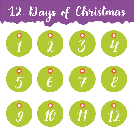 12 days of christmas: Hand drawn 12 days of Christmas holiday gift tags collection with calligraphy (hand lettering). Set of twelve printable labels on white background.