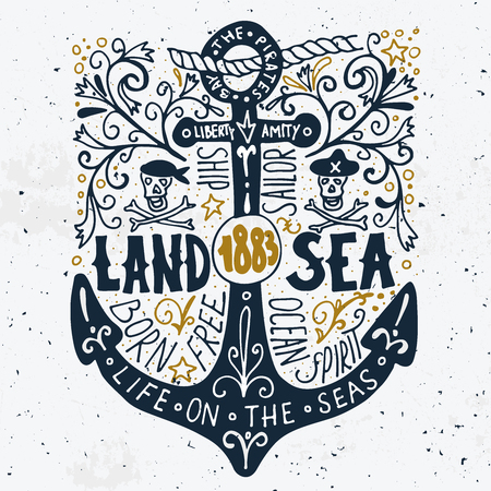 amity: Land and sea. Hand drawn nautical vintage label with an anchor, pirate skulls, lettering and floral decoration elements. Illustration