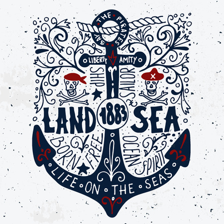 Land and sea. Hand drawn nautical vintage label with an anchor, pirate skulls, lettering and floral decoration elements. 向量圖像