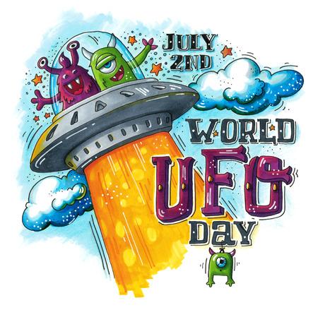 platillo volador: Dibujado a mano ilustración para el día Mundial OVNI con dos extraterrestres divertido en nave espacial (platillo volante). 2DN julio. Esta imagen se puede utilizar como impresión en camisetas y bolsas, tarjeta de felicitación o como un cartel.