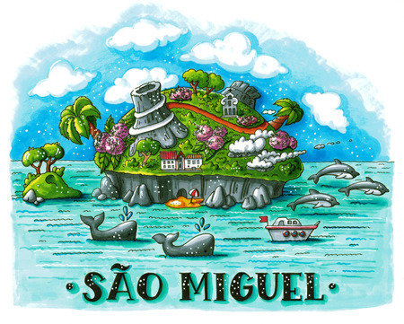 azores: Hand drawn bright marker illustration of tropical Sao Miguel island (Portugal) with volcanoes, whales, dolphins and hand lettering. This image can be used as a print on t-shirts and bags, stationary or as a poster.