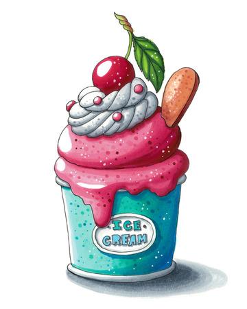 Mignon illustration dessinée à la main d'une assiette de crème glacée aux cerises isolée sur fond blanc. Cette image peut être utilisée comme une carte de voeux de jour de valentines ou de mariage, une affiche ou une impression.