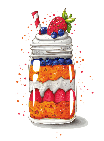 Cute hand drawn illustration of strawberry and blueberry shortcake in a jar isolated on white background. This image can be used as a Valentines day or wedding greeting card, poster or print.