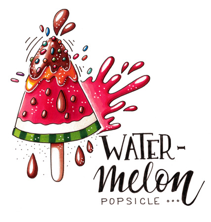 Hand drawn marker illustration of a watermelon ice pop with chocolate, speckles, juicy splash drops and lettering isolated on white background. This image can be used as a print on t-shirts and bags, greeting card or as a poster.