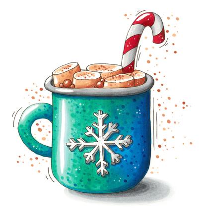Nette Hand gezeichnete Weihnachtsillustration von einem Becher mit heißer Schokolade, geschmolzen Marshmallows und einer Zuckerstange auf weißem Hintergrund. Dieses Bild kann als Weihnachtsgrußkarte, Plakat oder Druck verwendet werden.