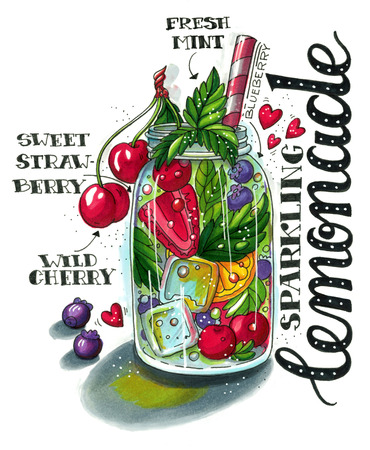 glass jar: Hand drawn illustration of summer fruit lemonade with strawberry, blueberry, cherry, orange, mint, striped straw and lettering. This image can be used as a print on t-shirts and bags, greeting card or as a poster.