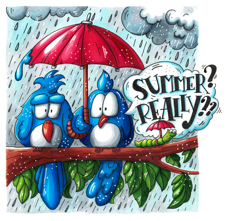 bad weather: Funny cartoon illustration of two sad birds and a caterpillar hiding under their red umbrellas. Bad rainy summer drawn with markers. Hand lettering in a speech bubble.