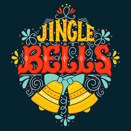 Jingle bells. Hand drawn winter holiday saying illustration. Christmas lettering with a bell and decorative design elements. This image can be used as a greeting card, poster or print. Illustration