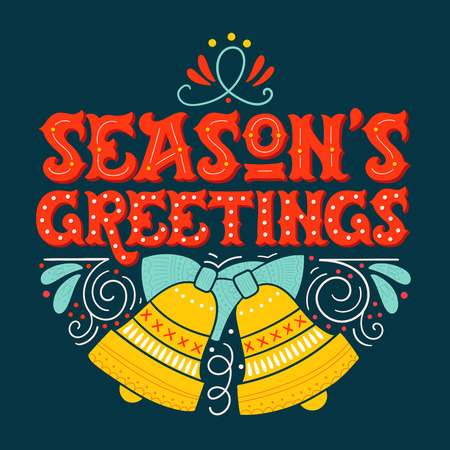 hand bells: Seasons greetings. Hand drawn winter holiday image. Lettering with ornate Christmas bells and decorative design elements. This illustration can be used as a greeting card, poster or print.