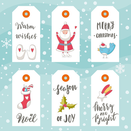 Hand drawn Christmas holiday gift tags collection with calligraphy, hand lettering, decoration elements and doodles. Set of 6 printable labels on snowy background.