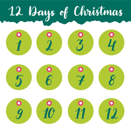 Hand drawn 12 days of Christmas holiday gift tags collection with calligraphy (hand lettering). Set of twelve printable labels on white background.