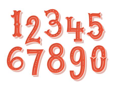 Hand drawn vintage numbers set Illustration