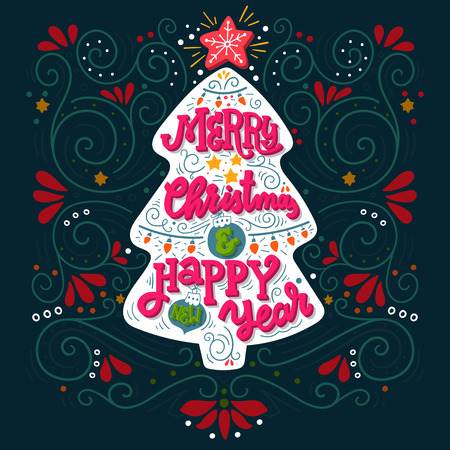 Merry Christmas and happy New Year. Hand drawn winter holiday image. Lettering on Christmas tree with decorative design elements. This illustration can be used as a greeting card, poster or print.