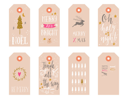 Hand drawn Christmas holiday gift tags collection with calligraphy, hand lettering, decoration elements and doodles. Set of 8 printable labels on white background.