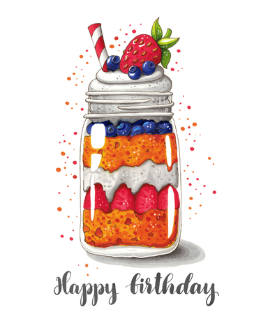 Cute hand drawn illustration of strawberry and blueberry shortcake in a jar with hand lettering. This image can be used as a birthday card, poster or print. Stock Photo