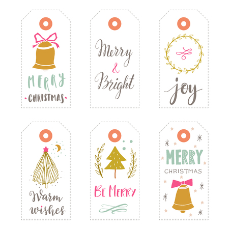 Hand drawn Christmas holiday gift tags collection with calligraphy, hand lettering, decoration elements and doodles. Set of 6 printable labels on white background. 向量圖像