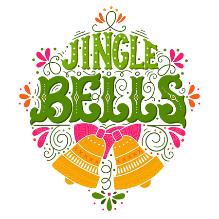 Jingle bells. Hand drawn winter holiday saying illustration. Christmas lettering with a bell and decorative design elements. This image can be used as a greeting card, poster or print. 向量圖像