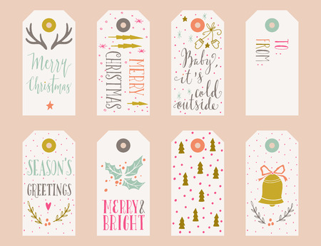 Hand drawn Christmas holiday gift tags collection with calligraphy, hand lettering, decoration elements and doodles. Set of 8 printable labels. 向量圖像