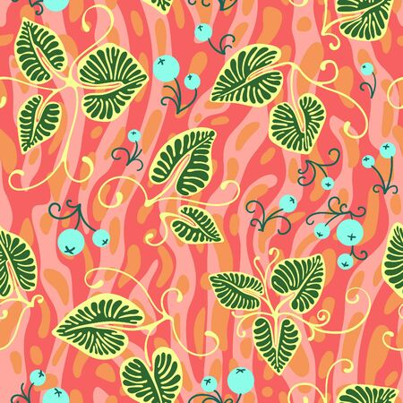 Seamless botanical pattern with green leaves, berries and pink and orange background Иллюстрация