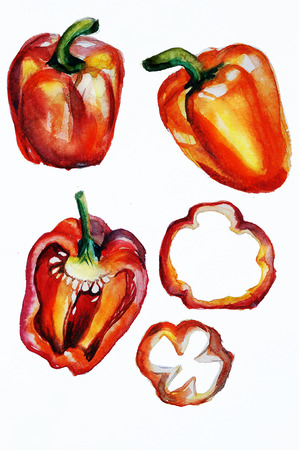 paprika watercolor Stock Photo