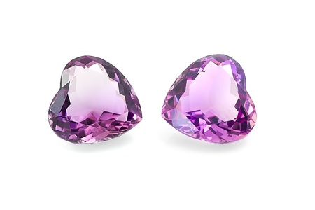 Pair of amethyst hearts  Stock Photo - 15967699