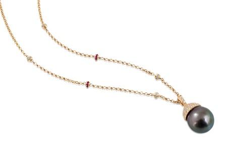 Black pearl necklace with white diamonds  Stock Photo