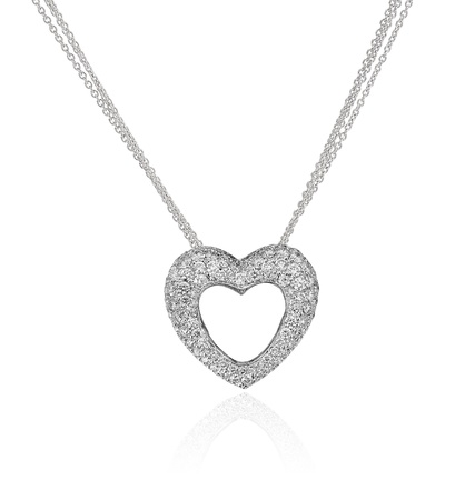 Diamond heart necklace isolated on white background