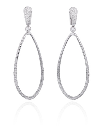 Diamond hoop earrings  Stock Photo