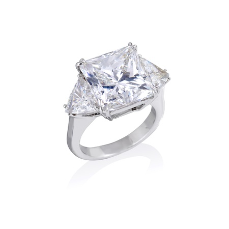 Diamond ring on white background photo