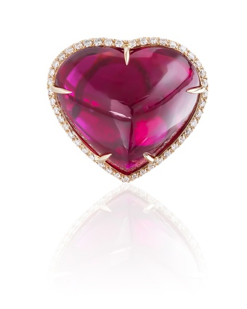 Ruby heart ring isolated on white  Stock Photo