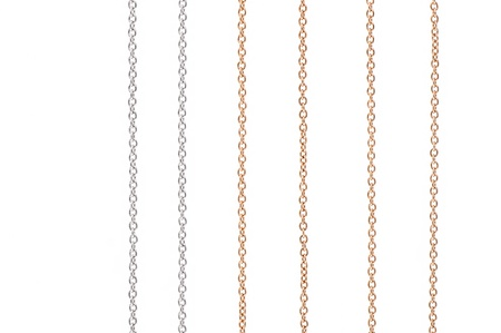 jewelry chain: White and yellow gold chains isolated on white background
