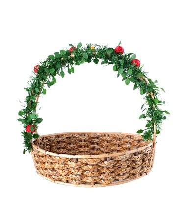 Empty wicker basket with decorated handle, isolated on white background