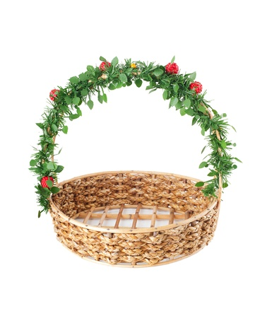 Empty wicker basket with decorated handle, isolated on white background  photo